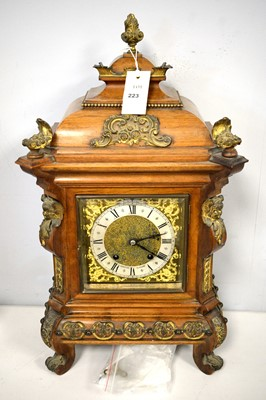 Lot 223 - Late 19th Century walnut cased mantel clock