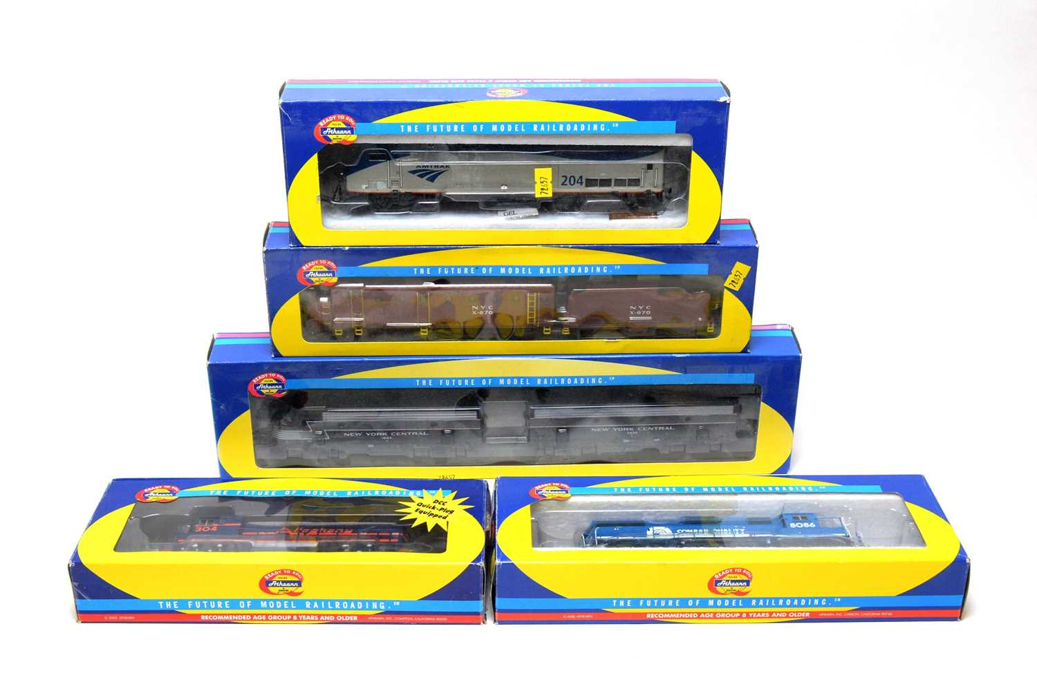 Lot 653 - Five boxed Athearn locomotives.