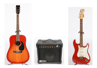 Lot 309 - Encore 'Strat'; Pathfinder amplifier; Hohner guitar