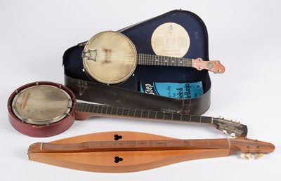 Lot 285 - John Grey banjolele; dulcimer; five string banjo.