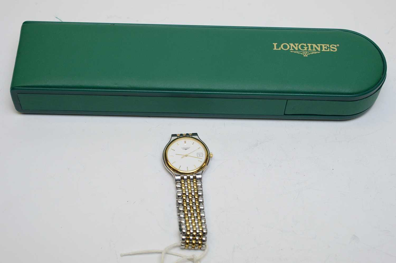 Lot 51 - A lady's Longines Les Grandes Classique stainless steel wristwatch.