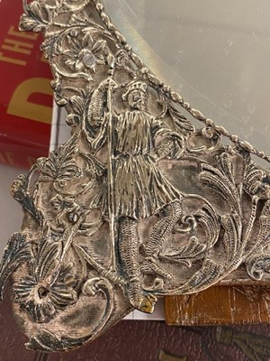 Lot 42 - A Victorian silver framed dressing table mirror.