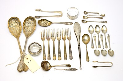 Lot 50 - Silver and electroplate flatware.