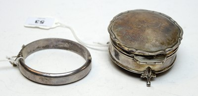 Lot 53 - An antique silver ring box.
