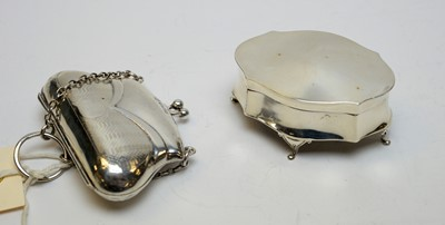 Lot 65 - An antique silver ring box and purse.