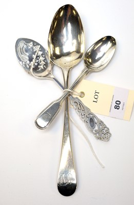 Lot 80 - Three silver spoons including one by Peter, Anne, and William Bateman.