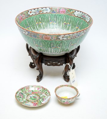 Lot 243 - Chinese famille rose bowl and a cup and saucer