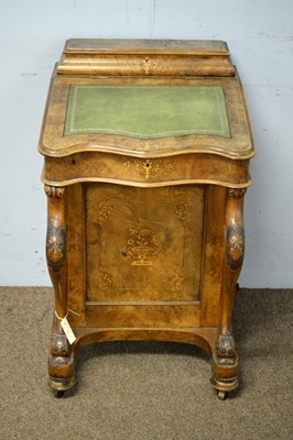 Lot 60 - A Victorian inlaid walnut Davenport.