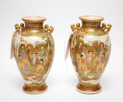 Lot 462 - A pair of Chinese Satsuma vases