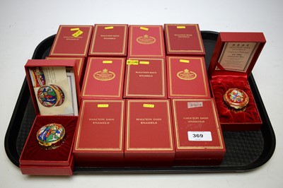 Lot 369 - Collection of Halcyon Days Christmas enamels
