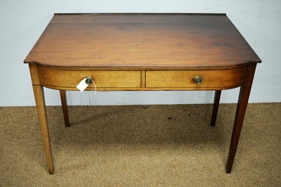 Lot 22 - A mahogany bowfront two drawer side table.