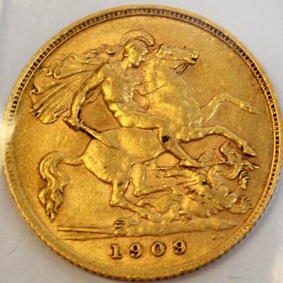 Lot 107A - A 1909 gold half sovereign.