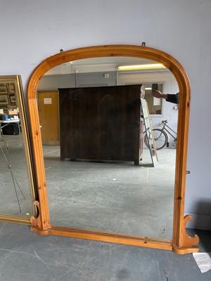 Lot 440 - 20th Century pine overmantle mirror