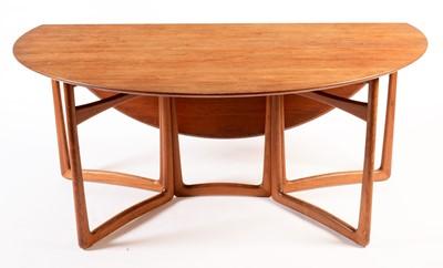 Lot 86 - Peter Hvidt & Orla Molgaard-Nielson for France & Son: a teak double gate-leg drop-leaf dining table