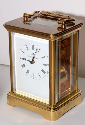 Lot 392 - 20th Century brass carriage clock, by Matthew Norman Switzerland