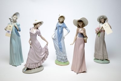 Lot 325 - A selection of five Nao figures of ladies.