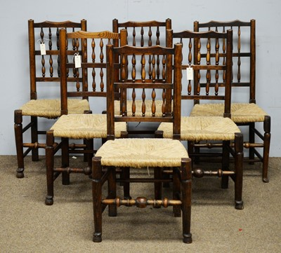 Lot 11 - 19th C Harlequin set of six spindle back and rush seat dining chairs.