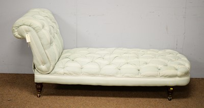 Lot 1 - A Victorian-style button upholstered drop-end chaise longue.