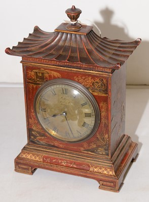 Lot 382 - A 19th Century French chinoiserie mantel clock.