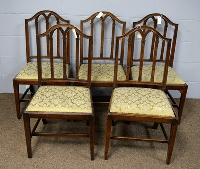 Lot 30 - A set of five 19th Century mahogany dining chairs and a late Victorian walnut slipper chair, upholstered in peach fabric.
