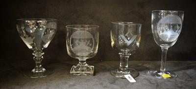 Lot 463 - Selection of four Masonic glasses