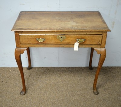 Lot 58 - An 18th C oak and mahogany banded side table.