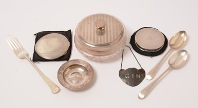 Lot 165 - Small silver items, including powder compacts, a 1930s dressing table jar, and an Armada dish.