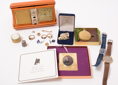 Lot 208 - Jewellery, watches, and a bedside alarm clock.