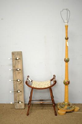 Lot 45 - 20th C lamp standard; Edwardian piano stool; and a six coat hooks on board.