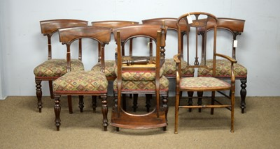 Lot 42 - Harlequin set Seven Victorian dining chairs; another similar; and an Edwardian elbow chair.