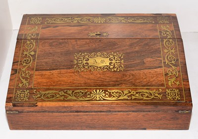Lot 387 - A Victorian brass inlaid rosewood writing box