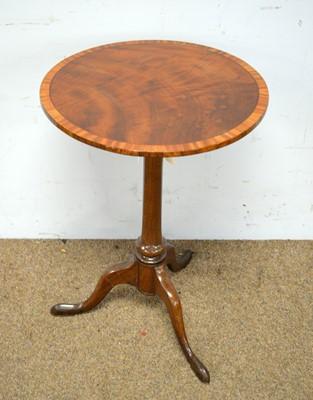 Lot 49 - Mahogany and satinwood banded tripod table.
