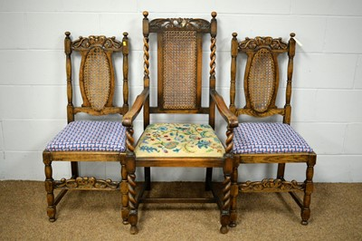 Lot 15 - An armchair, two dining chairs and a nursing chair.