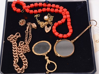 Lot 216 - Gold and costume jewellery.