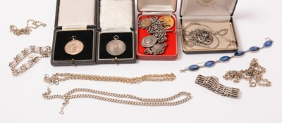 Lot 219 - Silver and white metal jewellery.