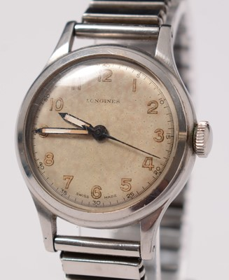 Lot 221 - A gentleman's 1940s stainless-steel Longines wristwatch.