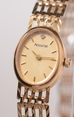 Lot 227 - A lady's diamond set 9ct gold Accurist wristwatch