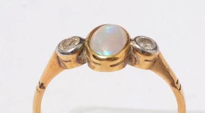 Lot 229 - A yellow-metal, opal, and diamond dress ring.