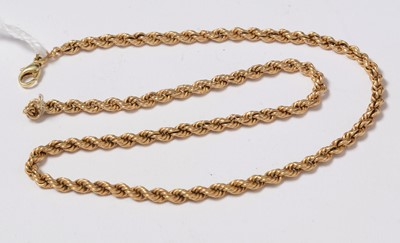 Lot 231 - A 14ct gold rope link necklace.