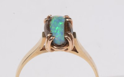 Lot 234 - A vintage black opal ore and yellow-metal dress ring.