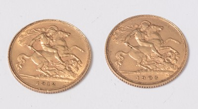 Lot 240 - Two gold half sovereigns.