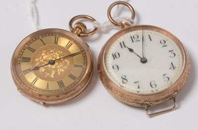 Lot 241 - Two yellow-metal cased fob watches.