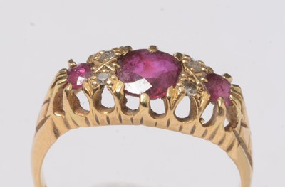Lot 245 - An 18ct gold, diamond and ruby ring.