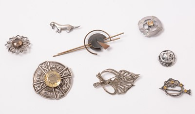 Lot 206 - Scottish silver brooches including Alexander Ritchie and Ola Gorie