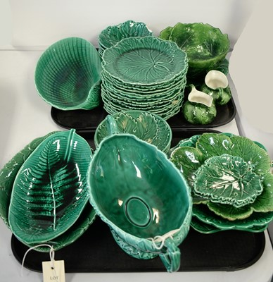 Lot 486 - Selection of Wedgwood and other green majolica ceramics