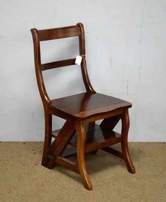 Lot 54 - A reproduction mahogany metamorphic library chair/steps.