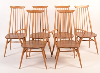 Lot 57 - Ercol: a set of six light beech and elm 'Goldsmith Windsor' dining chairs.