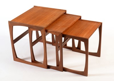 Lot 68 - G-Plan: a nest of teak quadrille pattern occasional tables.