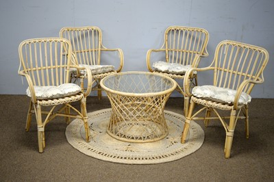 Lot 66 - Vintage conservatory furniture; and a rush weave rug.