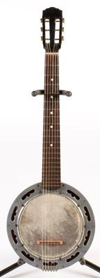 Lot 284 - Inlaid 6 string Banjo